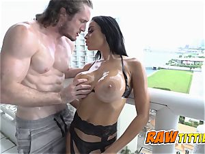 Victoria is greased up and pulverized in doggy style by ultra-kinky fella