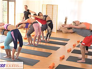 FitnessRooms group yoga session concludes with a internal cumshot