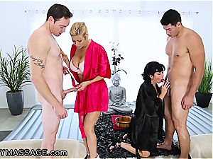 voluptuous rubdown by two nasty mummies completes with ginormous facials