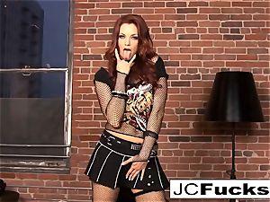 Jayden Cole wedges her panties in her gash