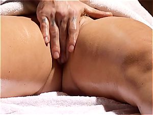 nasty masseur makes Krissy Lynn jiggle after sensuous love making