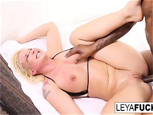 Leya gets a gigantic black pink cigar in her booty