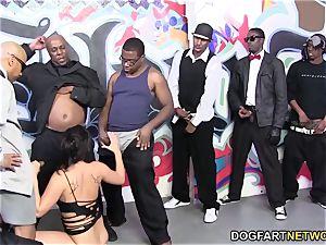 London Keyes enjoys mass ejaculation with black dicks