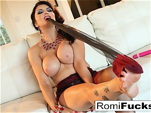 Smoking ultra-cutie Romi Rain takes care of her wet vagina