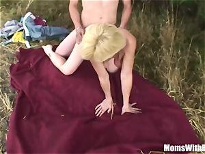 ash-blonde mommy With 2 men xxx Outdoor shag