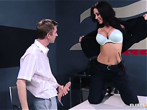 busty customs officer in the form of questioning of a young dude with a phat manstick