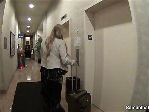 Behind the episodes with platinum-blonde pornographic star Samantha Saint