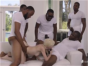 filthy fuckfest with 5 blacks and diminutive 18-year-old nubile Piper Perri