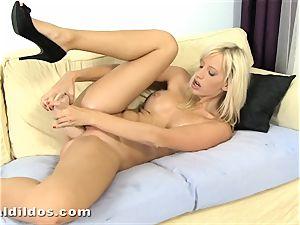 impressive blond Bella Morgan finishes off on a ample cruel fake penis
