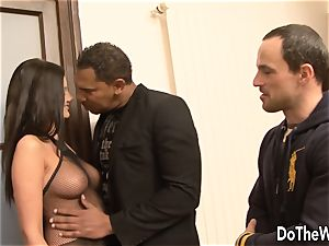 brunette interracial cuckold ass fucking