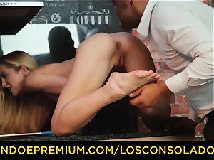 LOS CONSOLADORES - Hungarian platinum-blonde gets romped pov