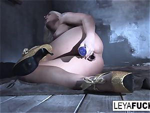 Leya Falcon slams fuck-fest toys in both her holes
