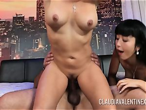Claudia Valentine joins a couple for a 3some