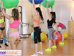 sport rooms Gym cougar and college girls have moist three-way