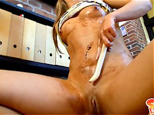 Sabrina blonde lie on stairs and do dildo pulverize