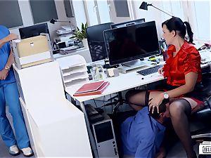 backsides BUERO - fantastic German secretary tears up at the office