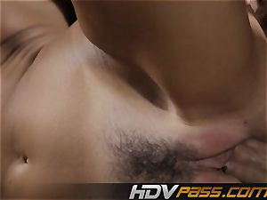 black-haired honey India Summer smashes with passion in livingroom