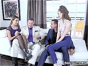 Pimp dads are checking what each other's daughter has to offer