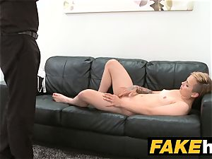 faux Agent short haired tattoo honey pounded hard