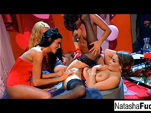 Charley chase, Natasha nice, Sophie Dee, and sea J moist