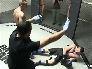Dana DeArmind gets boinked after the MMA match