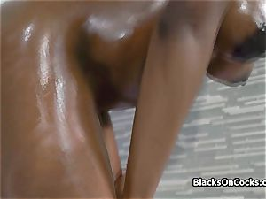 huge-chested ebony bombshell Lola well-lubed to inhale wood