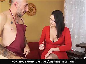 casting ALLA ITALIANA - huge-boobed dark-haired enjoys wet anal