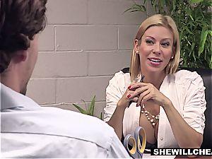 SheWillCheat - big-titted mummy boss screws fresh worker