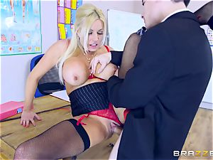 young dude in college uniforms romps his buxomy lecturer Michelle Thorne