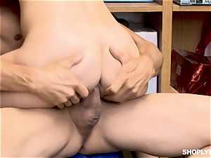 Gina Valentina and her stepsis banged by mallcop