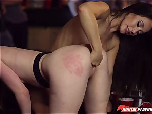 Red-headed mega-bitch Ella Hughes and fatal dark-haired Eva Lovia have lovemaking in a nightclub