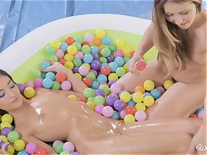 Ball pit snatch fun with Emily Willis and Paige Owens