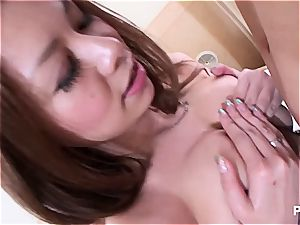 Jap stunner with hefty titties seduced