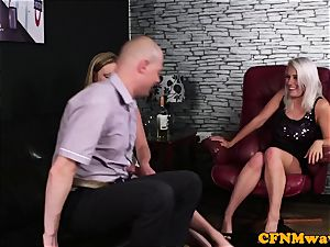european CFNM femdoms feasting on blokes man-meat