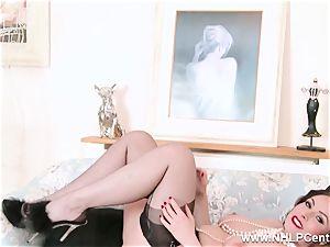 brunette in lingerie spreads nylon gams fingers coochie