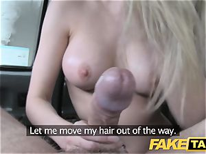fake taxi footjob and massive cum-shot for cute shaved cunny
