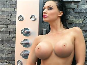 Aletta Ocean ultra-kinky nymph taking a shower bare