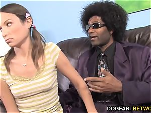 Amber Rayne gets big black cock anal invasion in front of her dad
