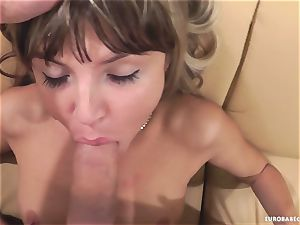 Gina Gerson luvs getting her face sprayed with jizz