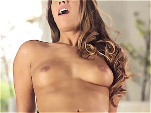 handsome Eva Lovia is instructing her beau some manners before the soiree