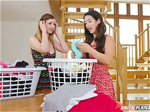 vag pawing adorable Eva Lovia and Stella Cox messing in the laundry