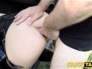 fake cab Fetish queen in dark-hued leather ass fucking internal cumshot