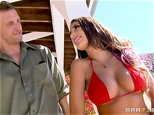 August Ames gets her orbs creamed outdoors