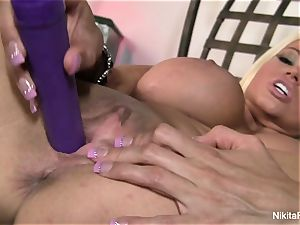 super-fucking-hot light-haired Nikita plays with a purple fucktoy